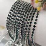 Silver Plated Cup Chain with Emerald Crystal Rhinestone, SS6