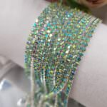 Silver Plated Cup Chain with Peridot AB Crystal Rhinestones