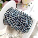 2mm Silver-Plated Brass Dark Torquise-Colored Crystal Rhinestone Cup Chain, 1 meter