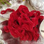 Silk Chenille Au Ver A Soie Soi, Made in France, Red Color