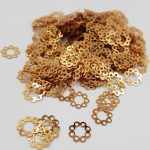 "Fantasy Sequins/Paillettes, Yellow Gold colour, ""Openwork Circles"" styled Sequins 12 mm, Made in France by Langlois-Martin, 50 pieces"