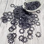 "Fantasy Sequins/Paillettes, Black colour, ""Openwork Circles"" styled Sequins 12 mm, Made in France by Langlois-Martin, 50 pieces"