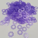 "Fantasy Sequins/Paillettes, Light Purple Perliane colour, ""Openwork Circles"" styled Sequins 12 mm, Made in France by Langlois-Martin, 20 pieces"