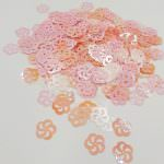 "Fantasy Sequins/Paillettes, Mixed and matched Pink colour, ""Flat Openwork Flower"" styled Sequins 11 mm, Made in France by Langlois-Martin, 50 pieces"