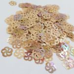 "Fantasy Sequins/Paillettes, Mixed and matched Beige colour, ""Flat Openwork Flower"" styled Sequins 11 mm, Made in France by Langlois-Martin, 50 pieces"