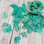 """Fantasy Sequins/Paillettes, Mixed and matched Turquoize colour, """"Volumetric Iris"""" styled Sequins 16x13 mm, Made in France by Langlois-Martin, 30 pieces"""