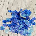 """Fantasy Sequins/Paillettes, Mixed and matched Blue colour, """"Volumetric Iris"""" styled Sequins 16x13 mm, Made in France by Langlois-Martin, 30 pieces"""
