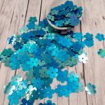 """Fantasy Sequins/Paillettes, Mixed and matched Turquoize colour, """"Flat Flower"""" styled Sequins 10 mm, Made in France by Langlois-Martin, 50 pieces"""