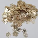"Fantasy Sequins/Paillettes, Light Gold colour, ""Openwork Snowflakes"" styled Sequins 12 mm, Made in France by Langlois-Martin, 50 pieces"