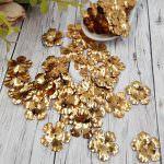 """Фантазийные пайетки """"объёмные цветы"""", Золото, 20 мм, Франция, Langlois-Martin, 10 шт"""
