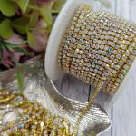 2-3 mm Gold-Plated Brass AB Colored Crystal Rhinestone Cup Chain, 1 meter