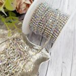 Silver-Plated Brass Cup Chain with AB Crystal Rhinestone