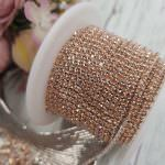 Cup Chain Silver Plated with Champagne Crystal Rhinestone