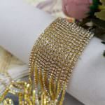 2-3 mm Gold Plated Brass Crystal Rhinestone Cup Chain, 1 m