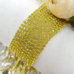 2 mm Silver Plated Brass Lemon Yellow Rhinestone Cup Chain, 1m