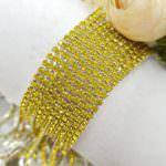 Стразовая лента с желтыми кристаллами в серебряной оправе, 2 мм