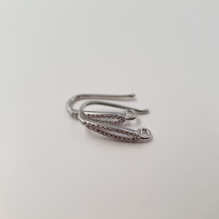 Earring components Rhodium plated
