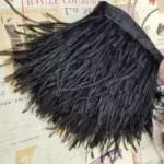 Natural Ostrich Feather Trim, Black Color, 5 cm