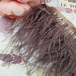 Natural Ostrich Feather Trim, Brown Color, 5 cm