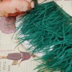 Натуральные страусиные перья изумрудного цвета, 5 см