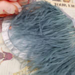 Natural Ostrich Feather Trim, Greenish Grey Color, 5 cm