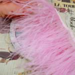 Natural Ostrich Feather Trim, Pink Color, 5 cm