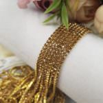 2 mm Gold Plated Brass Cup Chain with Light Topaz Rhinestones, 1m