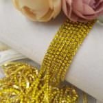 2 mm Gold Plated Brass Lemon Yellow Rhinestone Cup Chain, 1m