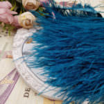 Natural Ostrich Feather Trim, Bluish Dark Green Color, 5 cm