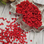 Italian Cup Sequins/Paillettes, Red Color with Satin Aspect #466W, 4 mm, by Andrea Bilics