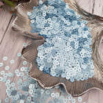 Italian Flat Sequins/Paillettes, Azure Color with Satin Aspect #606W, 4 mm, by Andrea Bilics