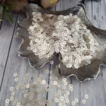 Italian Flat Sequins/Paillettes, Champagne with Satin Aspect #226W, 4 mm, by Andrea Bilics