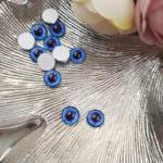 Кабошоны-глаза с плоской обратной стороной, Голубой цвет, 8 мм