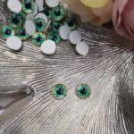 Кабошоны-глаза с плоской обратной стороной, Зеленого цвета, 8 мм