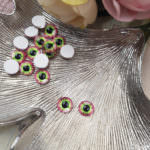 Eye Cabochon with Flat Back, Green-Pink Color, 8 mm