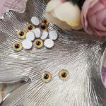 Кабошоны-глаза с плоской обратной стороной, Светло-коричневый цвет, 8 мм