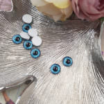 Eye Cabochon with Flat Back, Azure Color, 8 mm