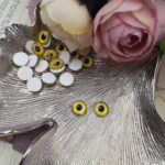 Eye Cabochon with Flat Back, Yellow Color, 8 mm