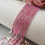 2 mm Silver Plated Brass Pink Rhinestone Cup Chain, 1m