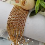 Silver Plated Brass Cup Chain with Topaz Rhinestone