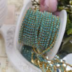 Gold Plated Brass Cup Chain with Turquoise Rhinestone