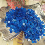 Flat Glitter Sequins/Paillettes, Blue Color, 4 mm