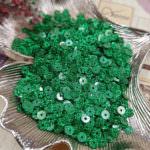 Flat Glitter Sequins/Paillettes, Green Color, 4 mm