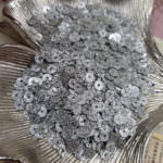 Flat Glitter Sequins/Paillettes, Silver Color, 4 mm
