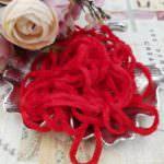 Viscose Chenille Thread, Red Color, 1m