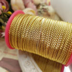 Diamond Embossed Metal Strip for Hand Embroidery, Gold, 2mm width
