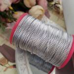 Diamond Embossed Metal Strip for Hand Embroidery, Silver, 2mm width