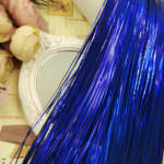 Плоская бить/металлические полоски для ручной вышивки, Тёмно-синий, 1 мм