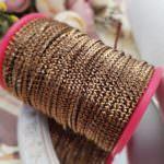 Фигурная бить/металлическая лента для ручной вышивки, Античное золото, 2 мм