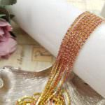 2 mm Gold Plated Brass Cup Chain with Pink Rhinestone, 1m